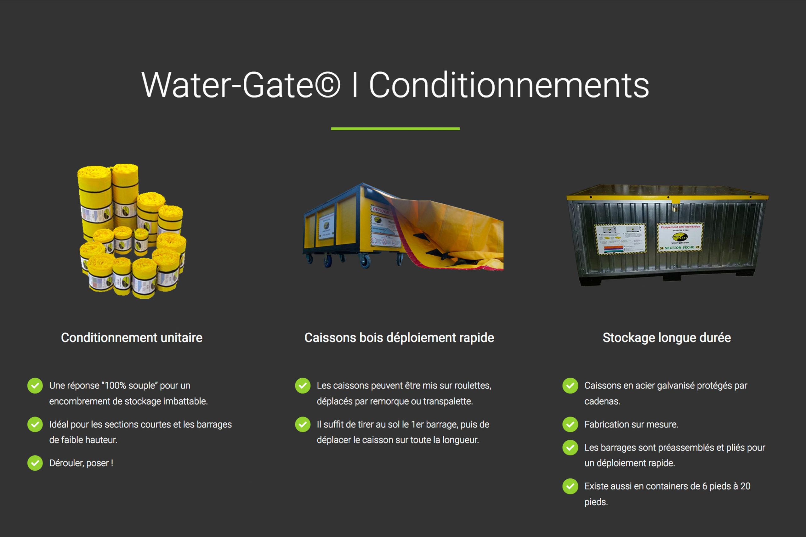 Conditionnement digue anti inondations Watergate